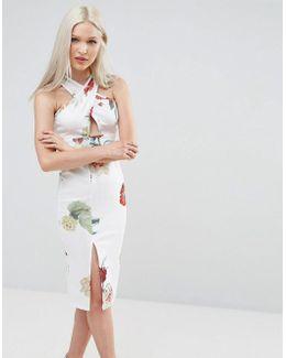 Scuba Midi Dress In Floral Print