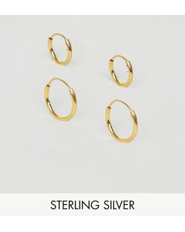 Sterling Silver 12mm And 9mm Hoop Earring Pack With Gold Plating