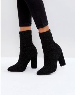 Black High Sock Heeled Ankle Boots