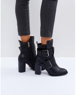 Black Double Buckle Heeled Ankle Boots