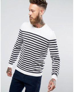 Knitted Stripe Jumper In White & Navy