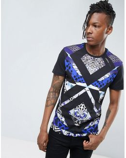 T-shirt In Black With Print