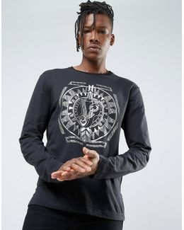 Long Sleeve T-shirt In Black With Gold Print
