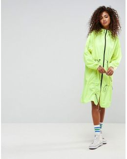 Neon Rainwear With Ruched Bungee Cords