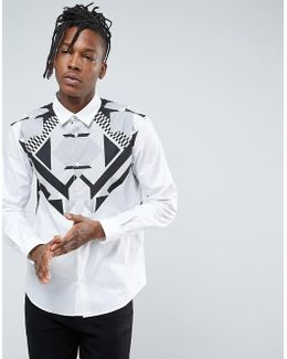 Shirt With Chest Print In Slim Fit