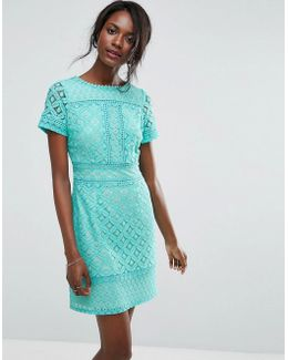 Cutwork Lace Detail Shift Dress