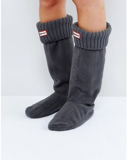 Grey Cardigan Cuff Tall Boot Socks