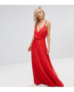 Blouson Wrap Pleated Maxi Dress With Tie Belt