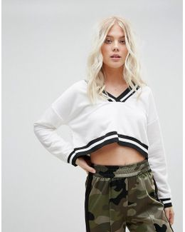 Cropped Sweatshirt With Stripe Tipping