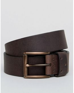 Wide Leather Belt In Brown With Keeper Detail
