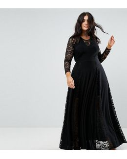 Plus Lace Insert Maxi Dress