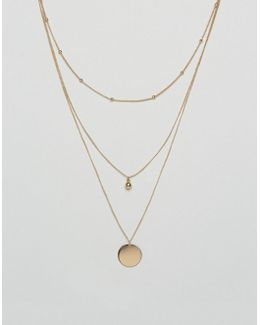Dot Dash And Disc Multirow Necklace
