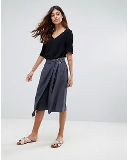 Junee Belted A-line Wrap Skirt