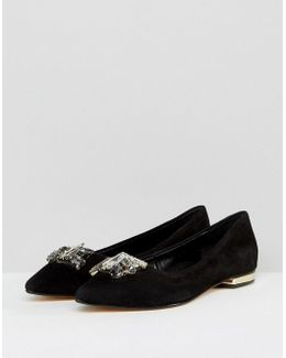 Jewel Trim Suede Flat Shoe