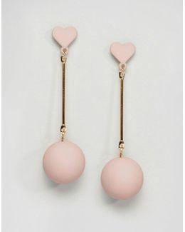 Pastel Pink Love Heart Drop Earrings