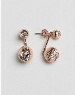 Plisse Crystal Ball Drop Earrings