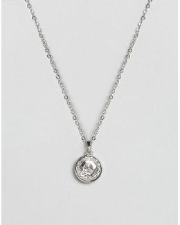 Crystal Button Pendant Necklace