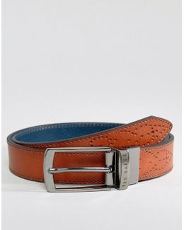 Boxwood Belt In Leather With Brogue Detail