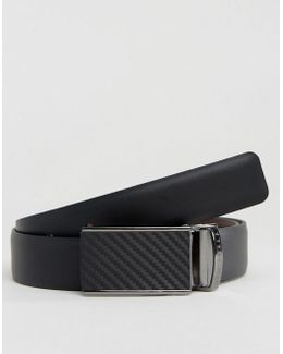 Twill Leather Belt With Plaque Buckle