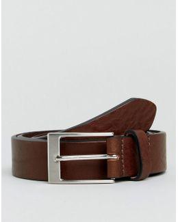 Made In England Leather Slim Belt With In Brown