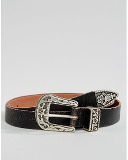 Slim Belt With Vintage Brown Leather And Western Buckle