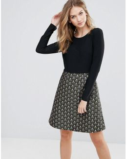 Double Take Dress With Graphic Print Skirt