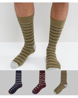 3 Pack Socks Moose Logo In Navy/olive Stripe & Burgundy Pattern