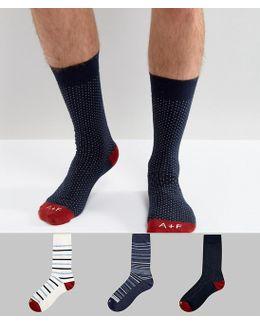 3 Pack Socks Moose Logo In Blue Stripe/pattern & Texture
