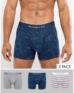 3 Pack Trunks Multi Pattern In Navy Floral/grey/burg Stripe