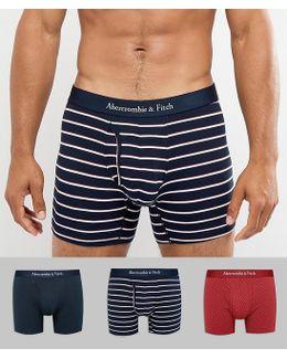 3 Pack Trunks Multi Pattern In Red Dots/navy/navy Stripe