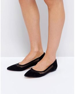 Suede Scallop Edge Flat Shoes