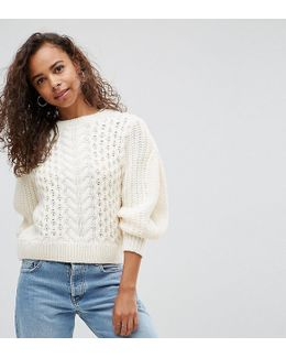 Sweater In Cable With Volume Sleeve