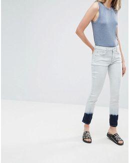 Tie Dye Hem Slim Jeans