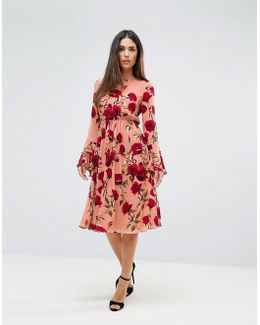 Rose Floral Dress With Flute Sleeve