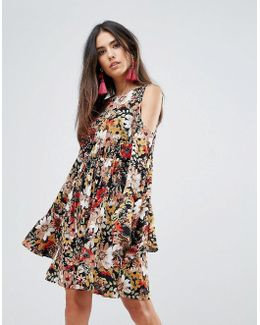 Printed Skater Dress With Flute Sleeves