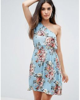 One Shoulder Floral Printed Dress
