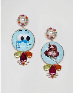 Statement Emoji Crystal Drop Earrings