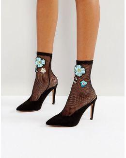 Embellished Mesh Ankle Sock