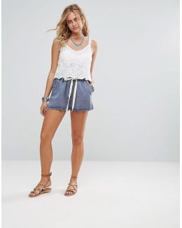 Hi Waist Drawstring Denim Shorts