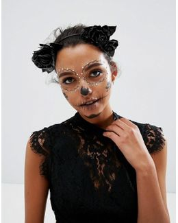 Halloween Faux Leather Floral Garland Headband