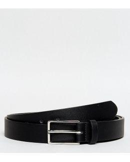 Plus Smart Slim Belt In Black Faux Leather
