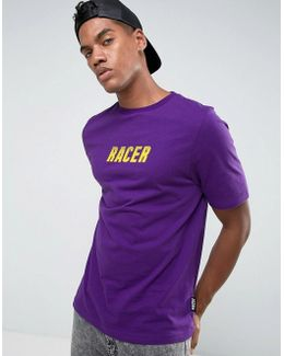 T-shirt In Purple With Racer Print
