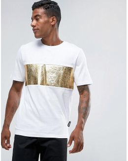 T-shirt In White With Gold Foil Panel