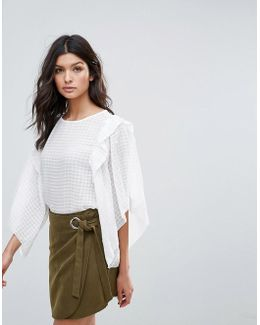 Oversize Sheer Grid Blouse