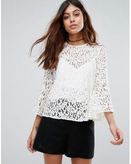 Lace Top With Voluminous Sleeves
