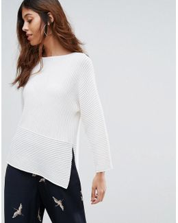 Ribbed Panelled Jumper
