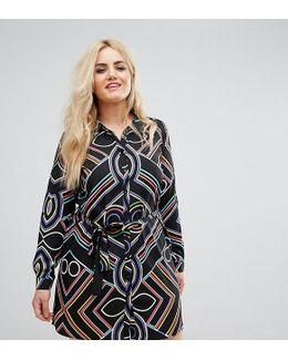 Plus Bright Line Print Shirt Dress