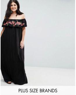 Plus Embroidered Bardot Maxi Dress