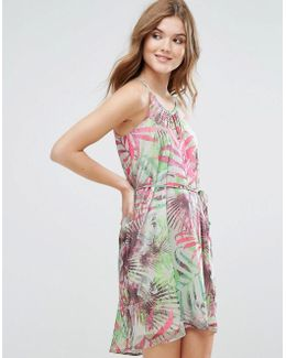 Palm Print Cami Dress With Cut Out Detail