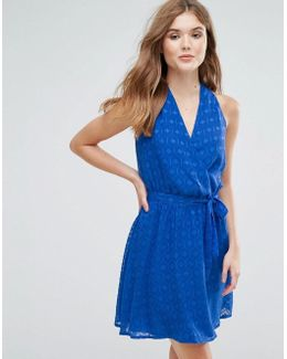 Wrap Front Belted Textured Midi Dress
